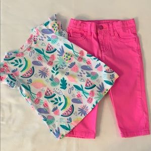 Girls Carters jeans. Peanut and Ollie top